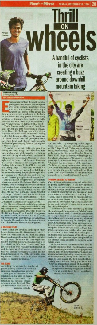 "Rider feature in ""Pune Mirror"" (2014)"