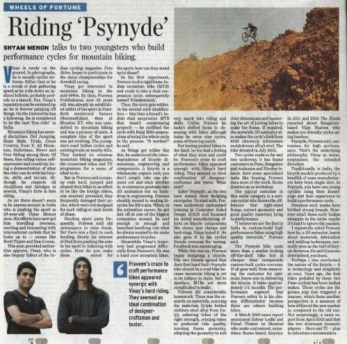 "Psynyde Bicycles & Components feature in ""The Hindu"" (2013)"