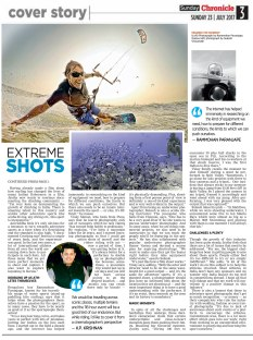 The Deccan Chronicle | Extreme Shots - Feature on Extreme Sports Photographers and Film Makers - 23rd July 2017